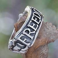 Men's sterling silver ring, 'Glorious Freedom' - Men's Heavy Sterling Silver Freedom Ring from Bali and Java