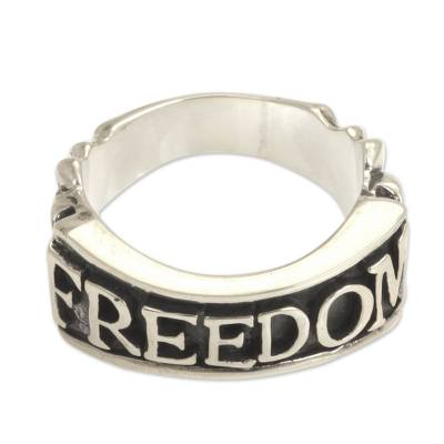 Men's sterling silver ring, 'Glorious Freedom' - Men's Handcrafted Sterling Silver Band Ring