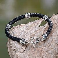 Men's leather braided bracelet, 'Warrior's Fortune' - Men's Braided Leather and Sterling Silver Bracelet