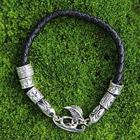 Sterling silver braided bracelet, 'Open Tribal Scroll'