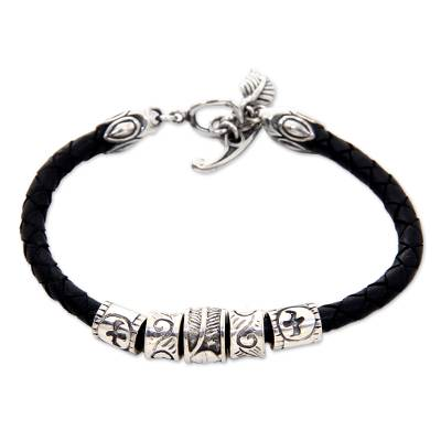 Sterling silver braided bracelet, 'Open Tribal Scroll' - Sterling silver braided bracelet
