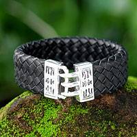 Men's leather braided bracelet, 'Tribal Warrior' - Mens Sterling Silver and Leather Braided Wristband Bracelet