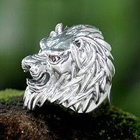 Men's garnet ring, 'Lion Power' - Men's Sterling Silver and Garnet Lion's Ring from Bali