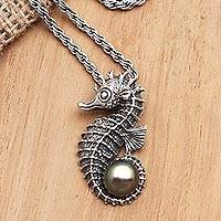 Cultured pearl pendant necklace, 'Sea Horse Legend' - Unique Sterling Silver Seahorse and Gray Pearl Necklace
