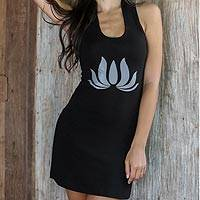 Jersey dress, 'Lotus Flames in Black' - Jersey Knit Dress