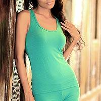 Jersey tank top, 'Tropical Turquoise' - Jersey Tank Top from Indonesia