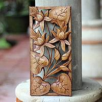Wood relief panel, 'Love Lotus'