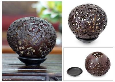 Coconut shell sculpture, 'Trees of Life' - Coconut Shell Sculpture