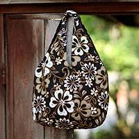 Cotton beaded shoulder bag, 'Tropical Bouquet' - Hand Made Floral Beaded Shoulder Bag