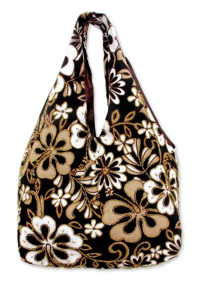 Cotton beaded shoulder bag, 'Tropical Bouquet' - Hand Made Floral Beaded Shoulder Bag