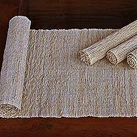 Natural fibers and cotton table runner and placemats, 'Nature of White' (set of 4)