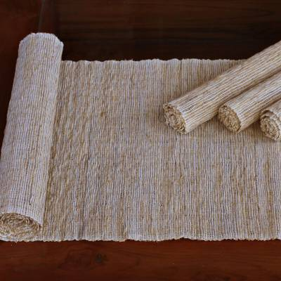 Handmade Table Runner And Placemats Set Of 4 Nature Of White