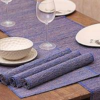 Natural fibers and cotton table runner and placemats, 'Nature of Blue' (set of 4)