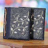 Pandanus journals, 'Dancing Leaves' (set of 2) - Pandanus journals (Set of 2)