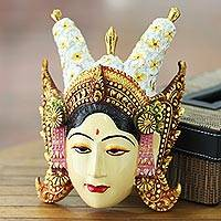 Wood mask, 'Beautiful Legong Dancer' - Unique Cultural Wood Mask