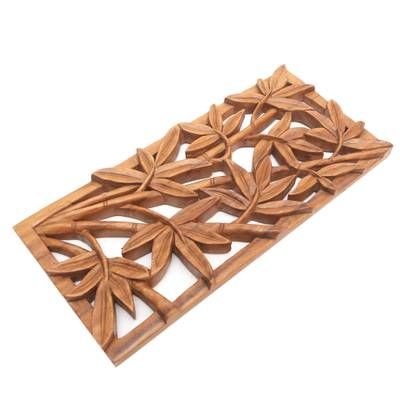 Wood wall panel, 'Autumn Song' - Handcrafted Leaf Relief Panel