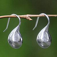 Sterling silver drop earrings, 'Moonlit Raindrops'