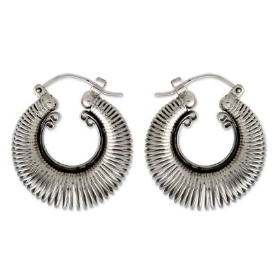 Sterling silver hoop earrings, 'Urban Moons' - Handcrafted Modern Sterling Silver Hoop Earrings