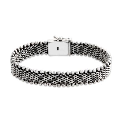 Men's sterling silver bracelet, 'The Hero' - Men's Sterling Silver Chain Bracelet