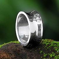 Men's sterling silver band ring, 'Love Testimonial'