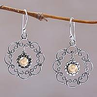 Sterling silver flower earrings, 'Delightful Denpasar' - Unique Sterling Silver Gold Plated Floral Dangle Earrings
