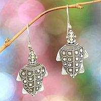 Sterling silver dangle earrings, 'Tantalizing Turtles' - Hand Made Sterling Silver Dangle Earrings