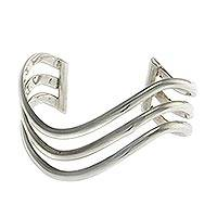 Sterling silver cuff bracelet, 'Wakatobi Wave' - Sterling Silver Cuff Bracelet