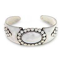 Sterling silver cuff bracelet, 'Dreaming of Bali'