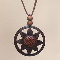 Coconut shell flower necklace, 'Balinese Sunflower' - Handcrafted Coconut Shell Necklace