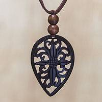 Coconut shell pendant necklace, 'Floral Leaf' - Hand Crafted Floral Coconut Shell Pendant Necklace