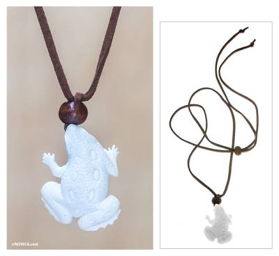 Men's wood and bone pendant necklace, 'Frog Prince' - Men's Unique Indonesian Pendant Necklace