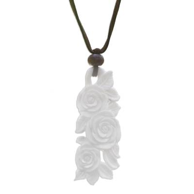 Wood and bone flower necklace, 'Rose Bouquet' - Handcrafted Floral Pendant Necklace