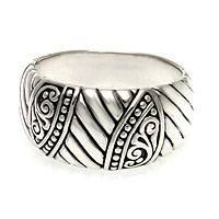 Men's sterling silver ring, 'Famous Warrior'