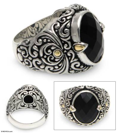 Men's gold accent onyx ring, 'Strength of Character' - Men's Unique Sterling Silver and Onyx Ring