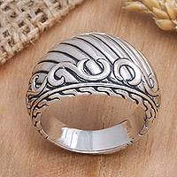 Men's sterling silver ring, 'The Walls of Heaven'