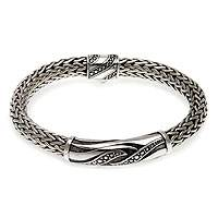 Men's sterling silver bracelet, 'Flames of Wisdom'