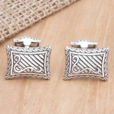 Sterling silver cufflinks, 'Royal Fern' - Handcrafted Sterling Silver Cufflinks from Indonesia