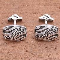 Sterling silver cufflinks, 'Flames of Wisdom' - Handmade Sterling Silver Cufflinks