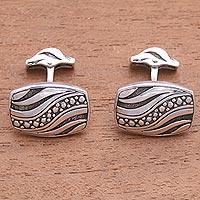 Sterling silver cufflinks, 'Flames of Wisdom' - Handmade Sterling Silver Cufflinks