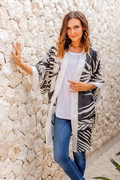 Silk robe, 'Palm Fronds' - Women's Silk Short Robe