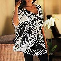 Silk batik caftan, 'Palm Shadow' - Hand Crafted Silk Batik Caftan
