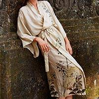 Silk robe, 'Azure Blossoms' - Silk robe