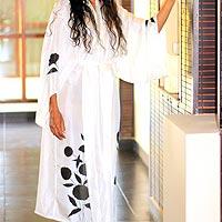 Silk robe, 'Balinese Morning'