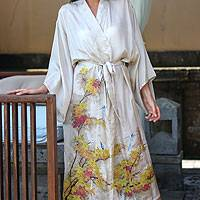 Silk robe, 'Golden Island' - Handcrafted Floral Silk Womens Robe from Bali