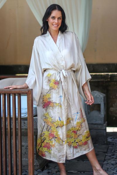 Silk robe, 'Golden Island' - Handcrafted Floral Silk Robe