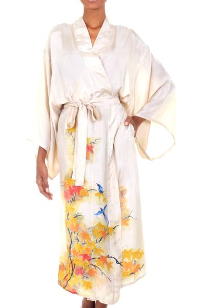 Handcrafted Floral Silk Womens Robe from Bali