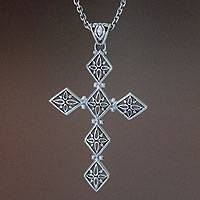 Sterling silver cross necklace, 'Spirituality' - Unique Sterling Silver Cross Necklace