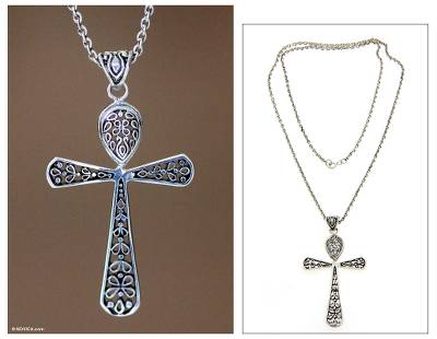 Sterling silver cross necklace, 'Blessings' - Indonesian Sterling Silver Cross Necklace
