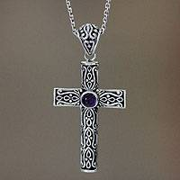 Amethyst cross necklace, 'Christian Soul' - Amethyst cross necklace
