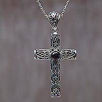 Garnet cross necklace, 'Christian Soul' - Garnet cross necklace